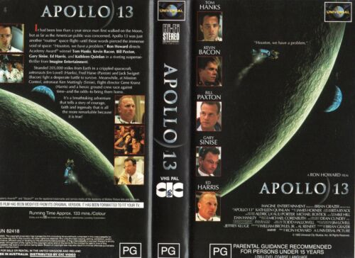 APOLLO 13 - Hanks / Bacon - VHS - PAL - Time Coded - Dealer Preview - Near new