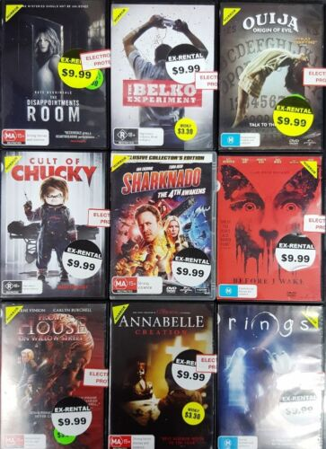 Quality Ex-Rental Used DVD's Assorted Horror Titles List #1