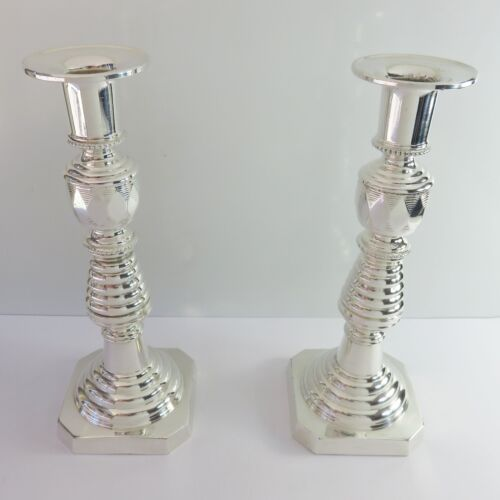 Vintage Silverplate Pair of 2 Candle Stick Tapered Candlestick Holders, Japan