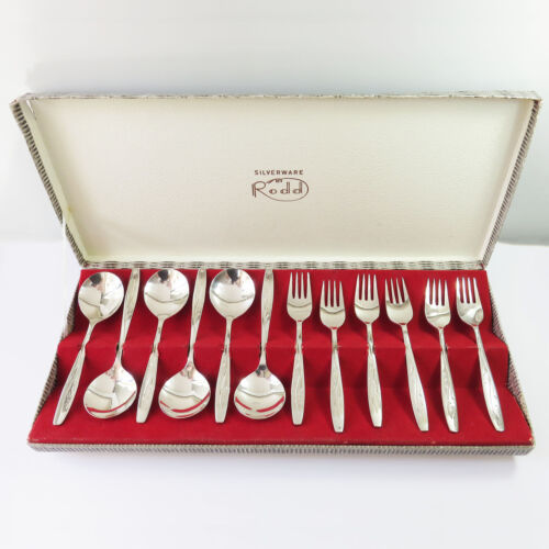 Vintage Rodd Stardust Silverplate Fruit Spoons & Sweet/Dessert Forks, 12 pc