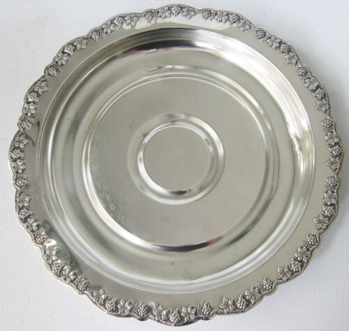 Vintage Renown Silverplate Serving Server Tray Food Plate, Grape Vines Design