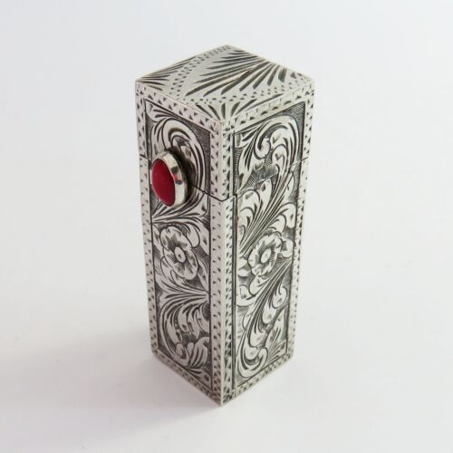 Vintage 800 Sterling Silver Lipstick Holder Compact, Etched Floral, Red Stone