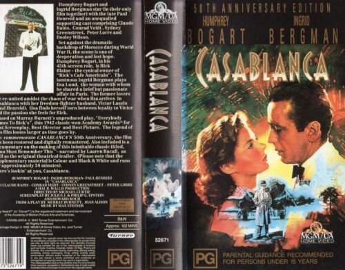 CASABLANCA - 50th Anniversary Ed.- VHS - N&S -PAL -Original Oz sell-thru release