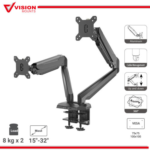 Dual Monitor Stand Arm Mount Gas Spring USB Port Vision Mounts VM-GM224U