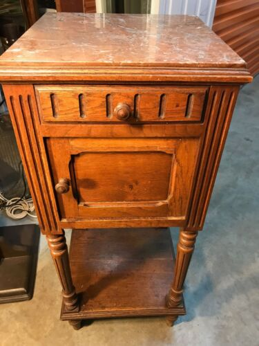 Antique Early 1900's French Oak Marble Top Bedside Lamp Cabinet Drawer & Door