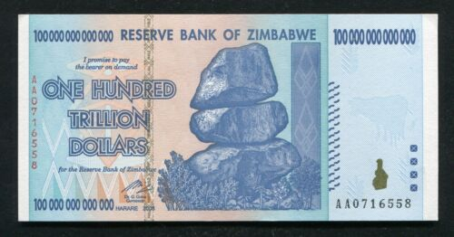 2008 100 TRILLION DOLLARS RESERVE BANK OF ZIMBABWE, AA P-91 GEM UNCIRCULATED <br/> HIGHEST DENOMINATION NOTE EVER PRINTED 100% AUTHENTIC