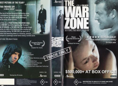 THE WAR ZONE - Ray Winstone - VHS - PAL - Time Coded - Dealer Preview -Near new