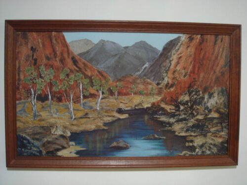 VINTAGE BEAUTIFULLY HAND MADE 3D LAYER AUS OUTBACK SIGNED 'JOY' NON REFLECTIVE