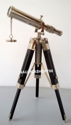 Maritime Nautical Collectible Chrome Spyglass Telescope With Wooden Tripod