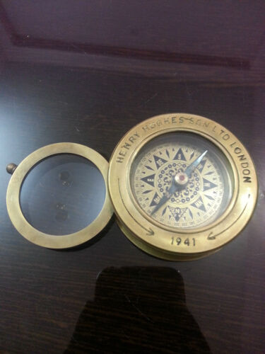Vintage Marine Brass Compass W/Magnifier lens Henry & Hughes Son Collectible Itm