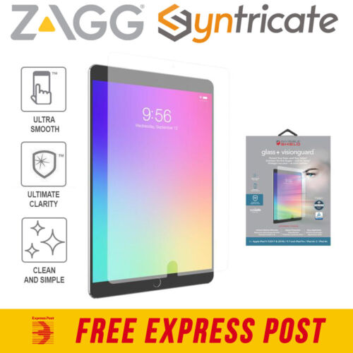 ZAGG INVISIBLESHIELD GLASS + VISIONGUARD SCREEN PROTECTOR FOR iPAD 9.7/PRO/AIR 2