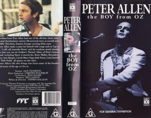 PETER ALLEN - THE BOY FROM OZ -VHS -PAL -N&S -Never played - Original Oz release