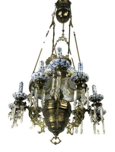 Antique Delft Blue White Porcelain Brass Chandelier Dutch 1 Light Exquisite