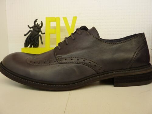 Fly London Hugh Washed Black Leather Mens Lace Up Brogue Shoe