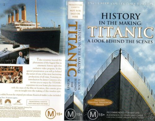 TITANIC - A LOOK BEHIND THE SCENES -VHS -Time Coded -Dealer Preview -PAL -As NEW