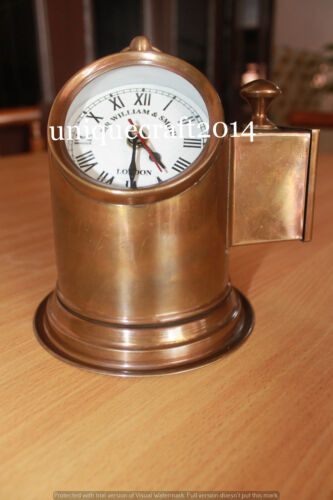 ANTIQUE NAUTICAL BRASS LAMP HELMET W/WATCH MARINE REPRODUCTION COLLECTIBLE ITEM.