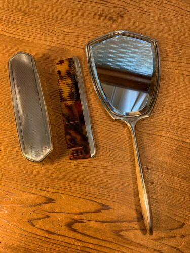 Vintage English Birmingham Hallmarked c1941 Silver Dresser Set Mirror Brush Comb