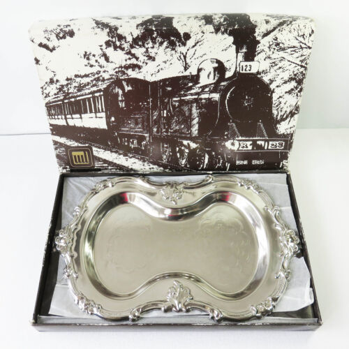 Vintage WL Silverplate Serving Food Server Tray/Dish, Floral Scrolls, Boxed