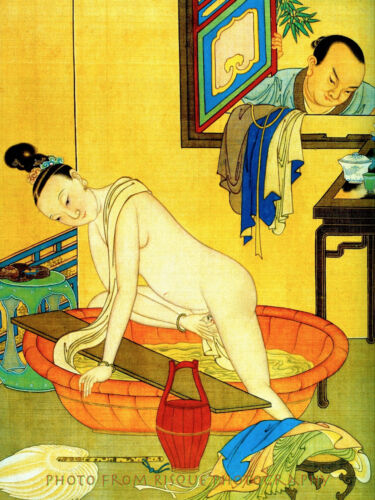 """Chinese Nude Woman at Bath 8.5x11"""" Photo Print Classic Naked Female Art Qui Ying"""