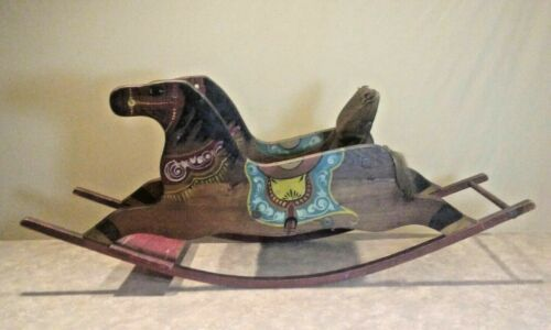 Antique Pa.Handmade,Hand Painted Rocking Horse.Orig Paint! Display REVISED!