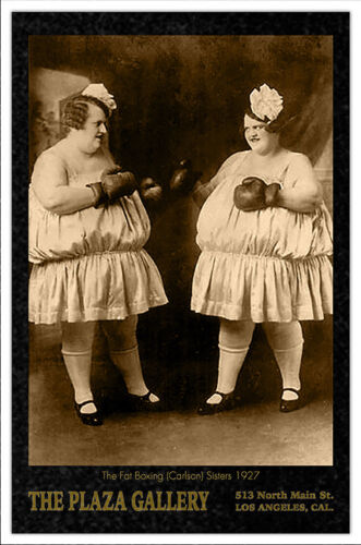 THE CARLSONS CIRCUS STARS BOXING SISTERS Vintage 1925 Photo Cabinet Card CDV RP