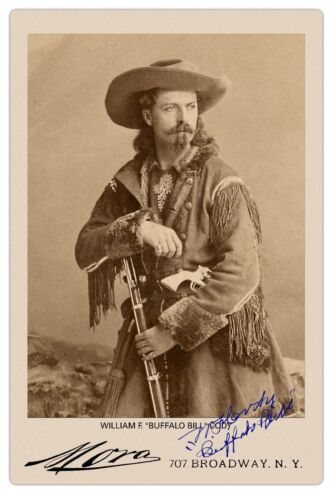BUFFALO BILL CODY Old West Legend Vintage Mora Photo Cabinet Card RP