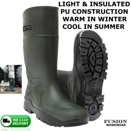 WELLINGTON BOOT WELLY,THERMAL, LIGHT WEIGHT, FARM GREEN,LIKE DUNLOP PUROFORT