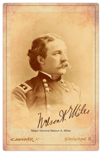 NELSON A. MILES Civil War General Indian Fighter Cabinet Card Photograph RP