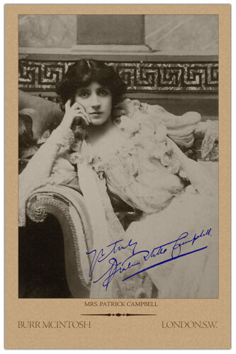 MRS PATRICK CAMPBELL 1878 English Actress Beauty Vintage Photograph Cabinet Card