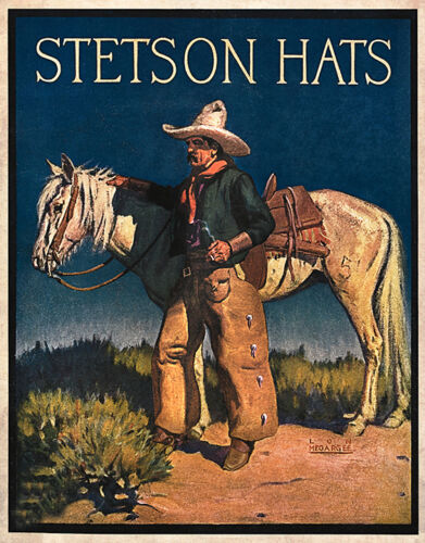 VINTAGE STETSON HAT ADVERTISIING Cowboy Painting Restoration OLD WEST