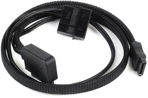 3 x Silverstone CP10 Slim-SATA to desktop  SATA Adapter All Black Sleeved Cable