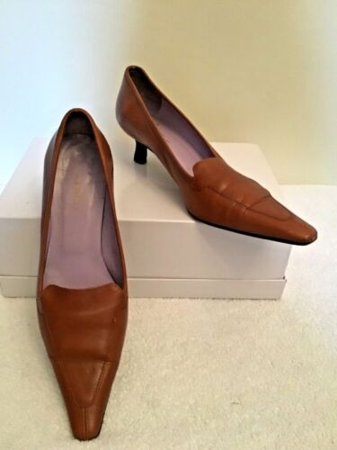 AUDLEY TAN ALL LEATHER HEELS SIZE 6/39