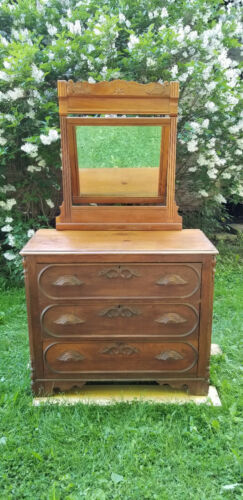 Eastlake style early 1900's Solid Walnut Mirrored Dresser