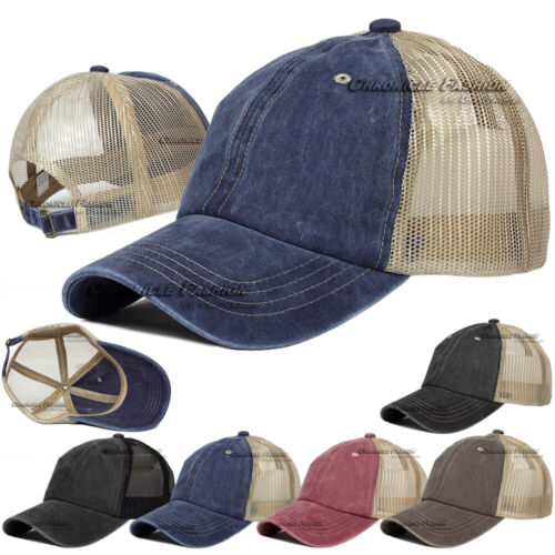 Washed Cotton Trucker Hat Mesh Cap Polo Style Adjustable Baseball Dad Blank Caps
