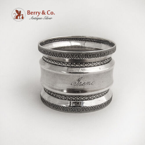 Engraved Coin Silver Napkin Ring Embossed Rims Bands Palmette Pattern 1880