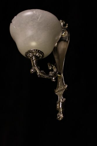 single   art deco wall  lights  silvered bronce with real spanish alabaster