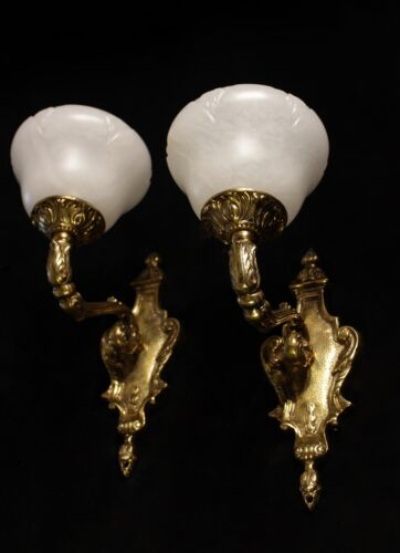 pair of  real  spanish Alabaster wall lights sconces  solid  bronze america