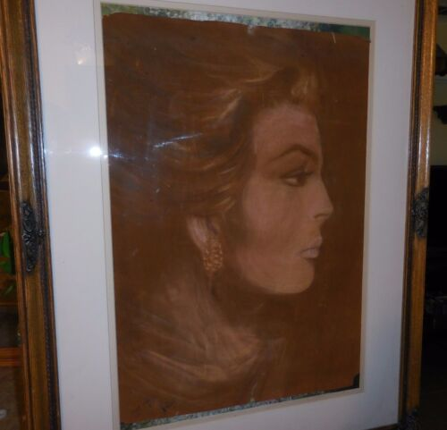 Color Graphite Drawing On Paper Of Lady With Earrings Profile By Battie 1973