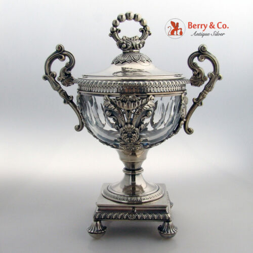French Drageoir 950 Sterling Crystal Courtois 1835