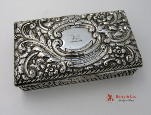 Repousse Rectangular Box Sterling Silver 1893