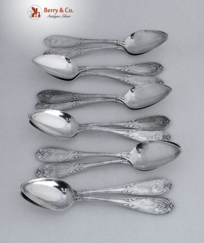 Fancy Leaf or Shell Coin Silver 12 Dessert Spoons 1850-1860