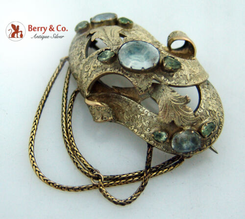 Antique 14K Gold Brooch White Yellow Paste Stones 1850