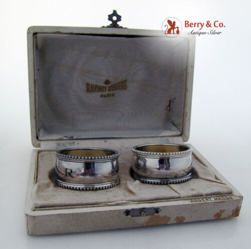 French Sterling Silver Pair Beaded Boxed Napkin Rings