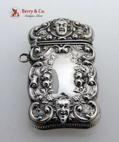 Match Safe Repousse with Faces Sterling Silver 1900
