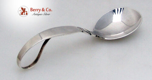 Cactus Sauce Spoon Curved Handle Georg Jensen Sterling Silver