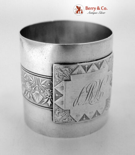 Aesthetic Coin Silver Napkin Ring Wood and Hughes 1875 Monogram AWS