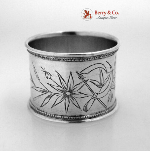 Russian Crossed Sickles Engraved Napkin Ring 84 Standard Silver 1895