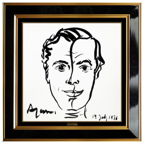 Yaacov Agam Original Ink Drawing Male Portrait Hand Signed Modern painting Art