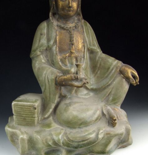 Song Dynasty Style Longquan Ware Porcelain Kuanyin Buddha Statue