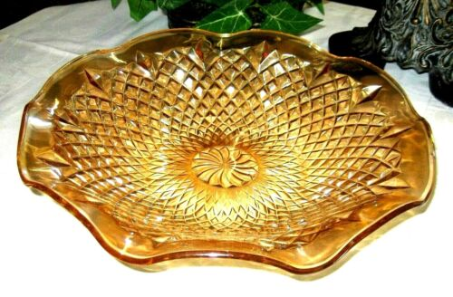 Vintage Carnival Glass Iridescent Marigold Crimped Serving Bowl w/ Diamond Block